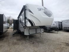 Exterior view of the Sportsmen Sportster 343TH11 Toy Hauler