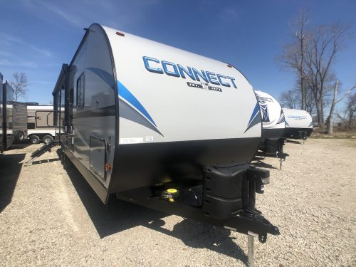 Fiberglass exterior view of the connect 271BHK Travel Trailer.