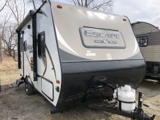Fiberglass Exterior rear entrence ultra light travel trailer.
