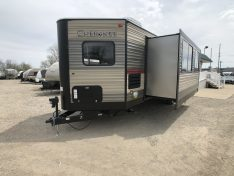 V-nose font kitchen travel trailer by forest river Cherokee.